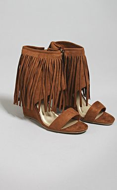"donya fringe wedge - rust--get 15% off + Free Shipping w/code ""RiffraffRepLauren"" at checkout on ShopRiffraff.com!"