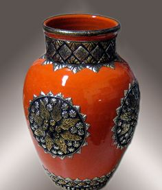Marrakech, Morocco metal and pottery vase