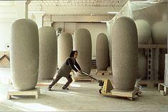 [Jun Kaneko moving one of his Dango sculptures on a cart]