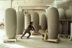 [Jun Kaneko moving one of his Dango sculptures on a cart]