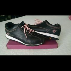 Timberland shoes Black, white and light pink shoes.  Worn but in good condition.  Size 8. Price reduced! Shoes