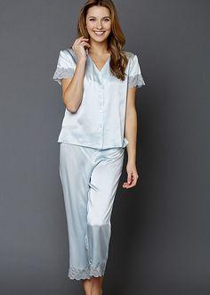 Julianna Rae Tresor Delice Ladies Silk Pajamas in Murano | Living Water Home Spa Shop | Sizes XS to XXL. #julianna #rae #silk #luxury #lingerie #pajamas #PJS