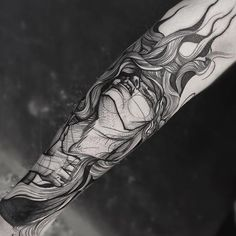 Eye-catching Virgo blackwork half sleeve tattoo