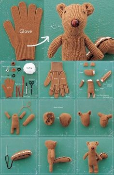 DIY Glove Recycled Chipmunk Make your own little teddy out your used glove, great little gift for your kid