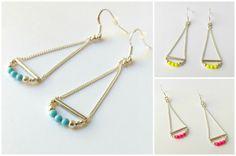 Boucles d'oreilles Neon en argent 925 - rose fluo / jaune fluo / bleu - Natasha R