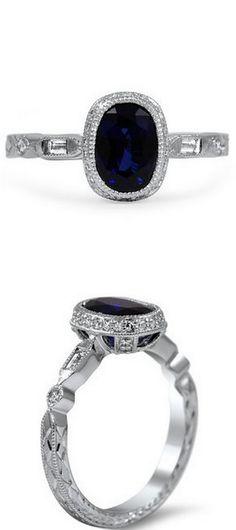 Vintage Sapphire & Diamond Basket Ring