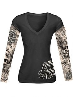 "Women's ""Skull And Tattoos"" Long Sleeve Tee by Lethal Angel (Black) Rock T Shirts, Long Sleeve Tees, Sportswear, Cool Outfits, Womens Fashion, Fashion Top, Punk Fashion, Diy Fashion, Clothes For Women"