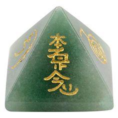 SUNYIK Green Aventurine Pyramid Engraved Usui Reiki Heali...