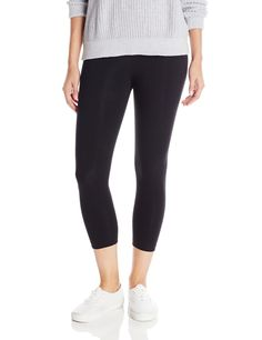Lysse Women's Tummy Control Shaping Cotton Capri Leggings,Black,L. LysséFit a hi-waist and soft stretch lining which ensures a great silhouette. Offered in a variety of solids and prints.