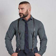 Black Buckle Leather Suspenders