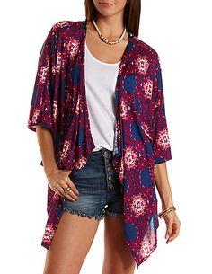 Crochet-Back Printed Kimono Cardigan: Charlotte Russe #kimono