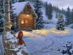Thomas Kinkade Art Another log cabin. Love his work!