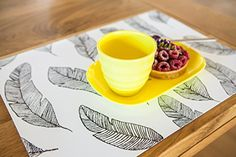 Everyday use Set of 6 Placemats and Coasters with additional of 12 Black paper Napkins to match (Feather set) Feather Pattern, Black Paper, Tribal Prints, Paper Napkins, Dinner Table, Table Linens, Cleaning Wipes, Coasters, Black White