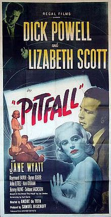 Pitfall is a black-and-white 1948 film noir drama directed by André De Toth. The film was based on a novel of the same name by Jay Dratler, and was titled Tragedia a Santa Monica for its Italian release. The drama features Dick Powell, Lizabeth Scott, Jane Wyatt, and Raymond Burr.