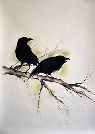 Bildresultat för skeleton with crow standing on shoulder drawing