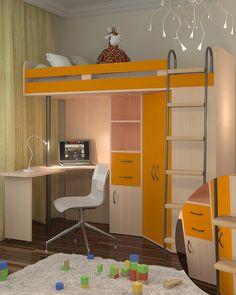 91fdd88911a50d9 Кровать-чердак М-85 дуб молочный/оранжевый РВ мебель купить в Москве и