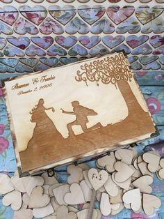 Large Rustic wedding guest book alternative / guest book / memory box / wood burned box / keepsake box/ wedding tree / key to my heart