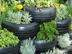 Tyres work great as pot plants and garden beds. Hang them or put them in the garden and fill the tyre with dirt to create a simple, effective area to plant and decorate your outdoor area. You can even play around with colours and shapes to create a unique garden sculpture.