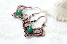 Wire wrap earrings  copper earrings  green by LenaSinelnikArt, $46.00