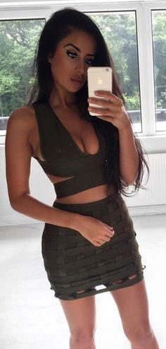 #winter #fashion /  Green Bandage Dress