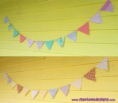 Guirnladas de banderines telas florales colores claros. myvioletdesigns.com