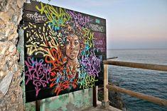 """Nerjamaika"" artwork by 'Btoy' Spanish born stencil artist, Andrea Michaelsson (b Banksy, Balearic Islands, Andalusia, Chalk Art, The Real World, Street Artists, Old Movies, Art Education, Art History"