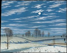 "Henry Farrer (American, 1844–1903). Winter Scene in Moonlight, 1869. The Metropolitan Museum of Art, New York. Purchase, Morris K. Jesup Fund, Martha and Barbara Fleischman, and Katherine and Frank Martucci Gifts, 1999 (1999.19) | ""Winter Scene in Moonlight,"" Farrer's earliest known watercolor landscape, probably represents a site in Brooklyn, where he lived most of his life. #newyork #nyc"