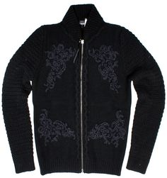 Just Cavalli zipped up sweater in Black S03HA0047, Free Shipping at CelebrityModa.com