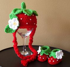 Strawberry Hat and Booties! :-) https://www.etsy.com/listing/183917106/crochet-strawberry-hat-and-bootiess