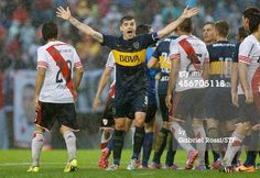 Fernando Gago of Boca Juniors reacts during a...