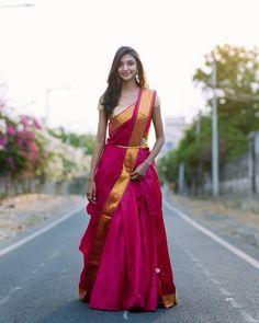 Give It The Lehenga-Saree Look How about revamping your entire sare Lehenga Saree Design, Half Saree Lehenga, Saree Look, Saree Dress, Bridal Lehenga, Saree Wedding, Plain Lehenga, Silk Lehenga, Red Saree