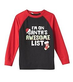 boys toddler red Christmas shirt  3T 4T Naughty Nice Awesome List