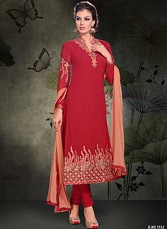 Awesome Red Embroidery work Georgette Churidar Suit #Suits #Salwar   http://www.angelnx.com/Salwar-Kameez