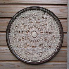 knitting + bicycle wheel = gorgeous @Maridon Bradley Drogan ut could be yours....I do like knitting lace!