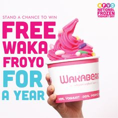 Come down to any Wakaberry for NFYD on 26 July, play the Wakaberry digital wheel and stand a chance to win free waka froyo for a year. See you all there.
