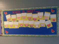 As a BOY writing piece, the kids were given the prompt: School is sweet because..... it made a super cute bulletin board!!