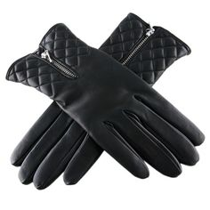 Black Leather Quilted Gloves with Cashmere Lining