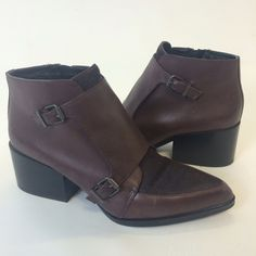 Circus by Sam Edelman Reese Leather Boots Leather & Calf hair monk strap boots in good preloved condition. There are some spots on the shoe (photoed) true size 9/40. Color is oxblood. Please ask questions, no trade or PP! Sam Edelman Shoes Ankle Boots & Booties