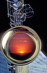 Saxophone Featured Images - Sunset In Bell Of Sax  by Garry Gay