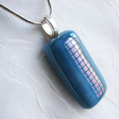 Denim Blues Fused Glass Necklace with Dichroic Accent