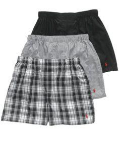 Polo Men's Underwear, Woven Boxer 3 Pack