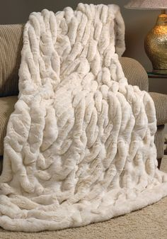 Ivory Mink Faux Fur Couture Throw Blankets Pillows Fluffy