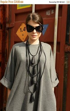 SALE Genuine Leather Necklace / Black Extravagant Necklace