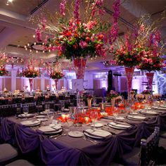 Orange and Purple Reception Decor