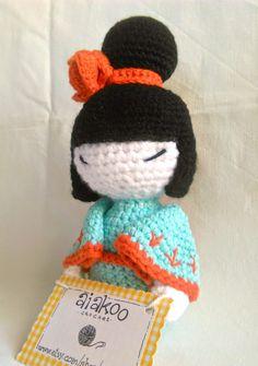 amigurumi crochet kokeshi doll made with organic cotton by aiakoo
