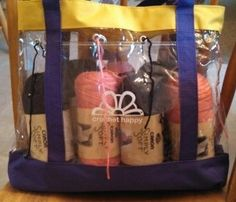 Brilliant.  If you knit or crochet projects with multiple colors, use a plastic bag with grommets to feed the yarn thru the edge.  .