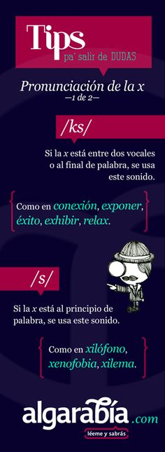 "#SpanishLessons: When should you pronounce ""x"" as ""ks"" and when should you pronounce it as ""s?"" ""X"" sounds like ""ks"" when it's between two vowels (conexión) or at the end of a word (""relax""). ""X"" sounds like ""s"" when it's at the beginning of a word (xilófono).  Thanks pinterest.com/algarabiadicto/ and algarabía.com for this great series of infographics! Also follow us at www.twitter.com/BilingualBest."
