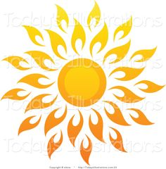 sun art | Vector Clipart of a Bright Summer Sun with Petal Rays 1 by elena - #23