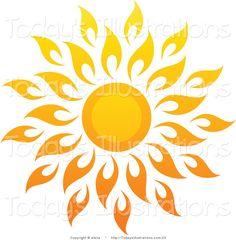 sun art | Vector Clipart of a Bright Summer Sun with Petal Rays 1 by elena - #23