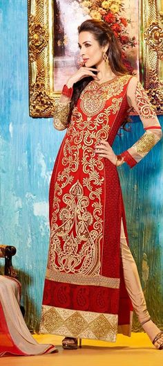 416868, Bollywood Salwar Kameez, Faux Georgette, Stone, Patch, Lace, Resham, Red and Maroon Color Family